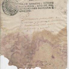 Documentos antiguos: PAPEL SELLADO. AÑO 1794. SELLO QUARTO. VEINTE MARAVEDIS. FISCAL. Lote 10501825