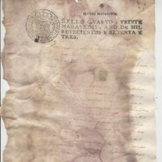 Documentos antiguos: PAPEL SELLADO. AÑO 1773. SELLO QUARTO. 20 MARAVEDIS. . Lote 10501849