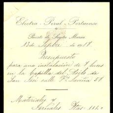 Documentos antiguos: ELECTRA- PERAL PORTUENSE. 1917. PTO. STA. MARIA. Lote 10954440