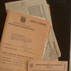 Documentos antiguos: CARTILLA DE AGRICULTOR Y CARNET DE CONSEJERO NACIONAL DEL MOVIMIENTO Y PAPELES VARIOS. Lote 11083029