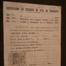 Documentos antiguos: DOCUMENTO TAMAÑO CUARTILLA CERTIFICADO EXTRACTO DE NACIMIENTO, 1929, CON VIÑETA Ó PÓLIZA. Lote 11083038
