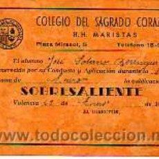 Documentos antiguos: TARJETA DE NOTAS -COLEGIO SAGRADO CORAZON H-H-MARISTAS VALENCIA -1942. Lote 11329572