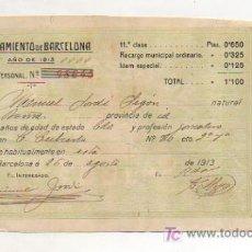 Documentos antiguos: CÉDULA PERSONAL. AÑO 1913. AYUNTAMIENTO DE BARCELONA. . Lote 11760317