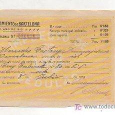 Documentos antiguos: CÉDULA PERSONAL. AÑO 1919. AYUNTAMIENTO DE BARCELONA. . Lote 11760395