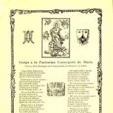 Documentos antiguos: GOIGS A LA PURISSIMA CONCEPCIO DE MARIA, A VILANOVA I LA GELTRU. Lote 12897525