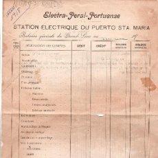 Documentos antiguos: BALANCE GENERAL DEL ELECTRAL-GENERAL PORTUENSE. Lote 12908439