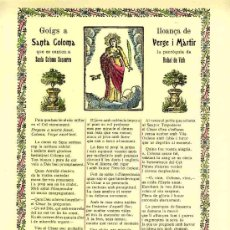 Documentos antiguos: GOIGS A LLOANÇA DE SANTA COLOMA, VERGE I MARTIR, QUE ES CANTEN A SANTA COLOMA SASSERRA. Lote 12919202