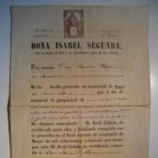 Documentos antiguos: BARCELONA: CERTIFICADO PATENTE REINA ISABEL II - 1866. Lote 13112051