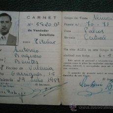 Documentos antiguos: CARNET DOCUMENTO IDENTIDAD CNS 1959 VALENCIA ALIMENTACIÓN. Lote 19953338