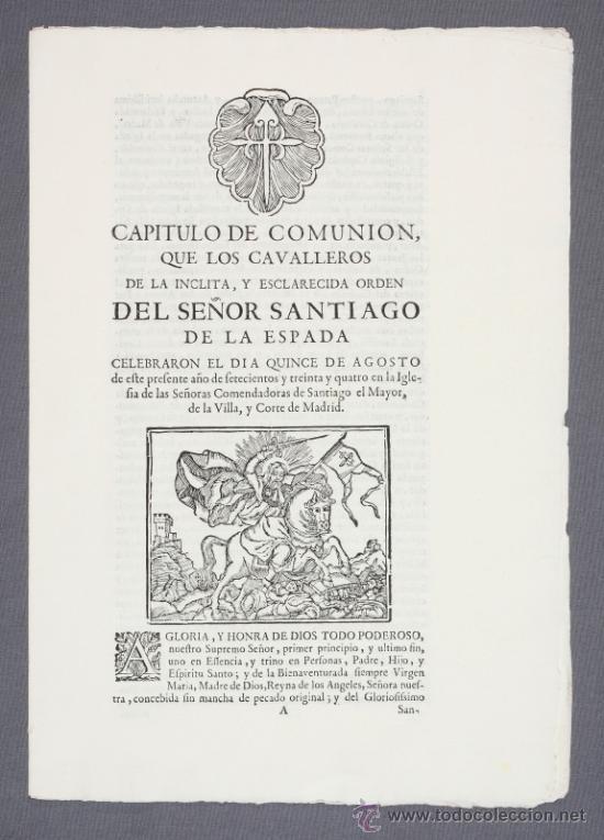 ORDEN DE SANTIAGO. CAPÍTULO CELEBRADO EN MADRID EN 1.734. (Coleccionismo - Documentos - Otros documentos)