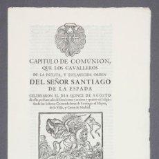 Documentos antiguos: ORDEN DE SANTIAGO. CAPÍTULO CELEBRADO EN MADRID EN 1.734.. Lote 23493463