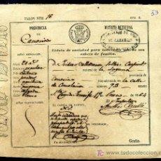 Documentos antiguos: CEDULA DE IDENTIDAD VECINAL - CANARIAS 1864. Lote 27232157