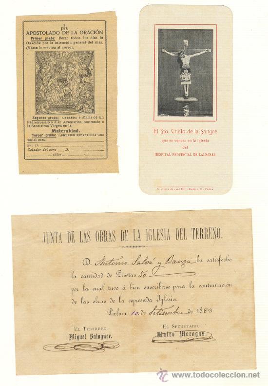 CUATRO PAPELES RELIGIOSOS PALMA DE MALLORCA DE 1883 A 1909 (Coleccionismo - Documentos - Otros documentos)