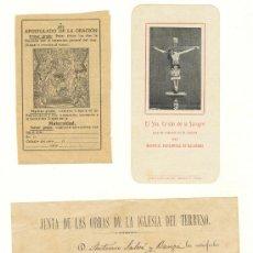 Documentos antiguos: CUATRO PAPELES RELIGIOSOS PALMA DE MALLORCA DE 1883 A 1909. Lote 22756204