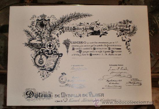 DIPLOMA DE MEDALLA DE PLATA (Coleccionismo - Documentos - Otros documentos)