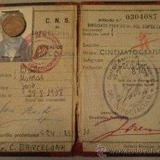 Documentos antiguos: CARNET SINDICATO VERTICAL, CINEMATOGRAFIA, 1953. Lote 14631940