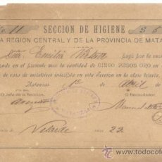 Documentos antiguos: DOCUMENTO RECIBO 1894, SECCION DE HIGIENE EN CONCEPTO DE AMA DE CASA DE MERETRICES PROSTITUTAS. Lote 27046890