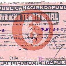 Documentos antiguos: RECIBO CONTRIBUCION TERRITORIAL -PROVINCIA DE AVILA 1946. Lote 27158213