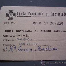 Documentos antiguos: TARJETA Nº 003656 DE AYUDA ECONOMICA AL APOSTOLADO , VALENCIA, SAN VALERO, 1960 . Lote 14847166