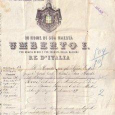 Documents Anciens: NAPOLES 1889 * PASAPORTE DE ITALIA A BUENOS AIRES ARGENTINA * 38 CM X 29 CM *. Lote 25691738