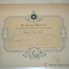 Documentos antiguos: 1888. TITULO DE SOCIO DE LA SOCIEDAD MADRILEÑA DE PROTECCIÓN DE LOS ANIMALES Y PLANTAS. Lote 15077864