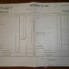 Documentos antiguos: DOCUMENTO TAMAÑO FOLIO,EN BLANCO, AUXILIO SOCIAL, COBROS. Lote 15162598