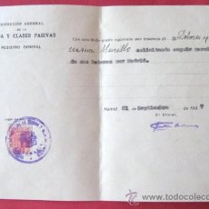 Documentos antiguos: DEUDA CLASES PASIVAS. MADRID 1937. REPUBLICA-GUERRA CIVIL. SOLICITUD DE HABERES. ..ENVIO GRATIS¡¡¡. Lote 15165335
