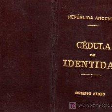 Documentos antiguos: CARNET DE IDENTIDAD-REPUBLICA ARGETINA- BUENOS AIRES. Lote 18630361