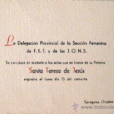 Documentos antiguos: TARRAGONA. FESTIVIDAD DE SANTA TERESA DE JESÚS. Lote 24539019