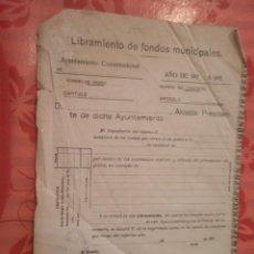 Documentos antiguos: LIBRAMIENTO DE FONDOS MUNICIPALES, VEA (SORIA), 1928. Lote 15341747