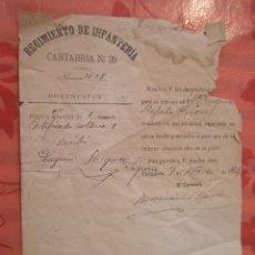 Documentos antiguos: DOCUMENTO TAMAÑO CUARTILLA, REGIMIENTO DE INFANTERÍA, CANTABRIA Nº 39, 1923, VEA (SORIA). Lote 15342396