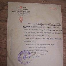 Documentos antiguos: CENTRAL NACIONAL SINDICALISTA-DELEGACIÓN LOCAL-ALICANTE- 17 DE NOVIEMBRE DE 1.939. Lote 15457703