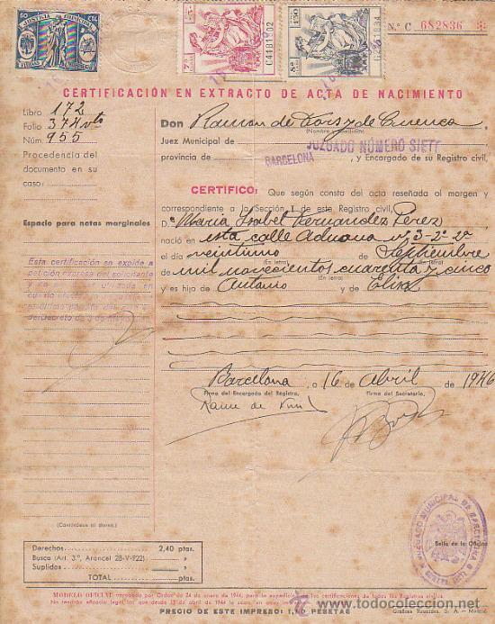 acta de nacimiento del registro civil de barcel - Comprar en ...