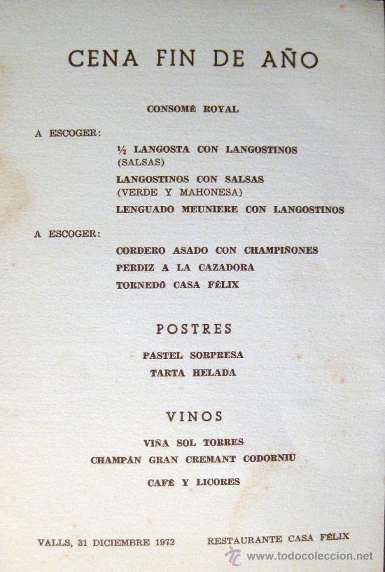 Valls tarragona restaurante casa f lix men comprar for Menu de fin de ano en casa