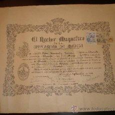 Documentos antiguos: TITULO DE BACHILLER UNIVERSITARIO.UNIVERSIDAD DE MURCIA.29 DE SEPTIEMBRE DE 1949. Lote 18214527