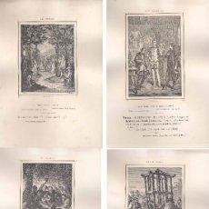 Documentos antiguos: 1879.- LOTE DE 62 LÁMINAS DIFERENTES REPRODUCCIONES HELIOGRÁFICAS DE DISTINTAS EDICIONES DEL QUIJOTE. Lote 15937383