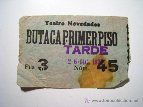 ENTRADA TEATRO NOVEDADES - 1933 (Coleccionismo - Documentos - Otros documentos)