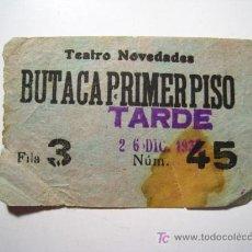 Documentos antiguos: ENTRADA TEATRO NOVEDADES - 1933. Lote 15968637