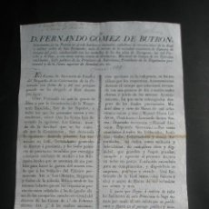 Documentos antiguos: BANDO 1823 AUXILIAR A LOS MILICIANOS LOCALES PARA HACER LA GUERRA. 4 REALES A LAS MADRES ANCIANAS . Lote 26974517