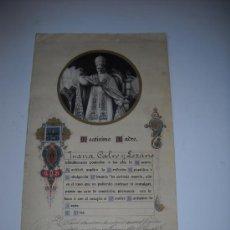 Documentos antiguos: INDULGENCIA PLENARIA IN ARTICULO MORTIS. AÑO 1928. FOTOGRAFIA EN EL CENTRO DEL PAPA PIO XI. . Lote 27102744