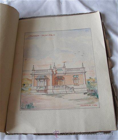 DIBUJO PROYECTO PARA CHALET 1920 ACUARELA (Coleccionismo - Documentos - Otros documentos)