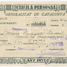 Documentos antiguos: CÉDULA PERSONAL. GENERALITAT DE CATALUNYA 1933.. Lote 16641272