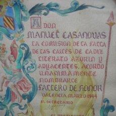 Documentos antiguos: 1944. PREMIO ORIGINAL DE LA COMISION DE FALLAS DE VALENCIA. FALLERO MAYOR. Lote 27229184