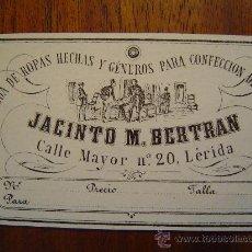 Documentos antiguos: TARJETA DE PRECIO - GENEROS JACINTO M. BERTRAN - 1886 - CALLE MAYOR , 20 - LERIDA ( LLEIDA ). Lote 26673325