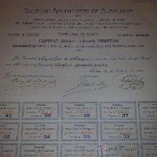 Documentos antiguos: ACCION SOCIEDAD ARGENTÍFERA DE ALMAGRERA - AÑO 1905 - TODOS LOS CUPONES. Lote 22869108