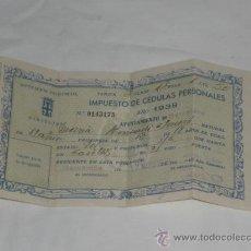 Documentos antiguos: CÉDULA PERSONAL. AÑO 1938. DIPUTACIÓN PROVINCIAL DE BARCELONA.. Lote 24718288
