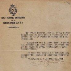 Documentos antiguos: SEMANA SANTA.- TARRAGONA.- R. Y VEN. PURISIMA SANGRE.- DOCUMENTO ORIGINAL.- AÑO 1940 - TGN. Lote 25588534
