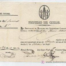 Documentos antiguos: RECIBO DE ALQUILER POR 80 REALES,PAGADOS POR D.JOSÉ Mº DE IBARRA A LA DIPUTACIÓN DE HACIENDA DEL I-. Lote 17916489
