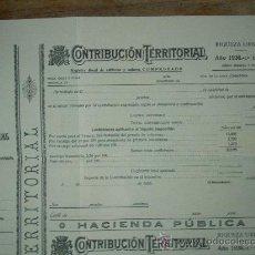 Documentos antiguos: CONTRIBUCION TERRITORIAL HACIENDA PUBLICA, 1936, REPUBLICA. SIN UTILIZAR. Lote 17976152