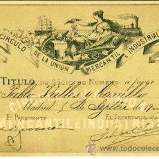 Documentos antiguos: CARNET DE DEL CIRCULO DE LA UNION MERCANTIL E INDUSTRIAL AÑO 1900. Lote 18040212